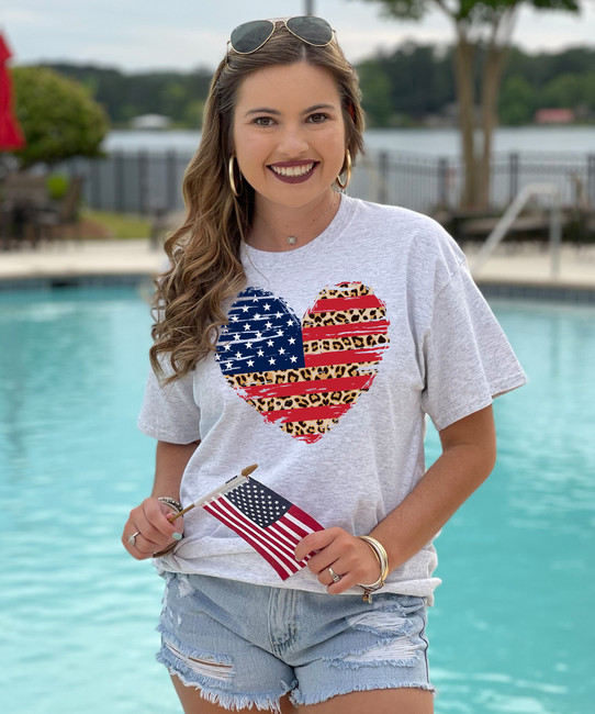 Leopard Patriotic Heart Shirt