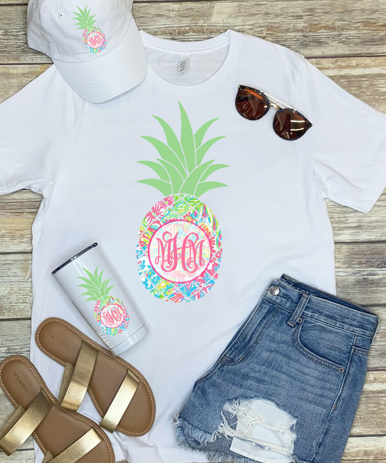 Monogrammed Lilly Pineapple Stainless Steel Tumbler