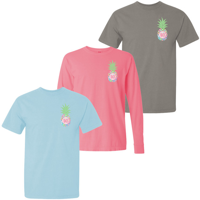 Monogrammed Lilly Pineapple Comfort Colors T-Shirt