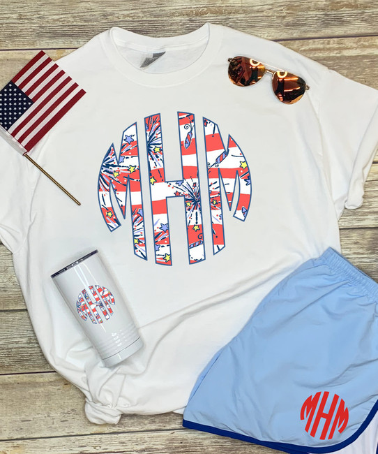 Monogrammed Patriotic Lilly Stainless Steel Tumbler
