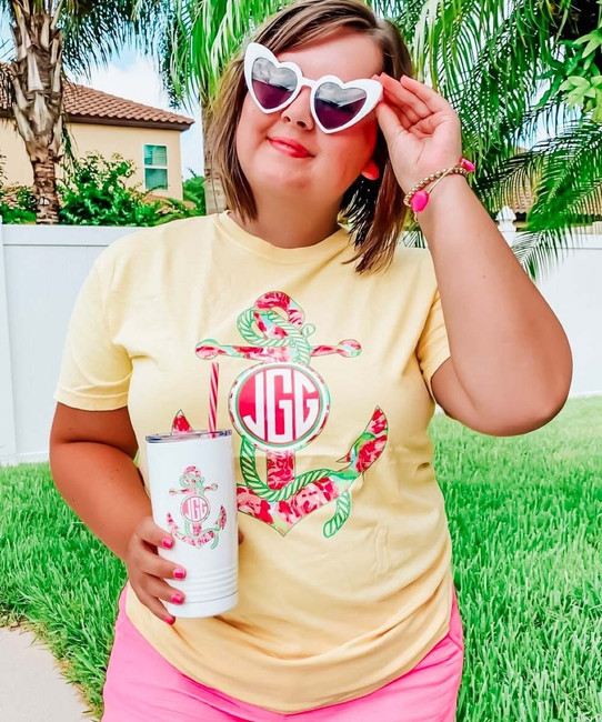 Monogrammed Large Lilly Anchor Comfort Colors T-Shirt