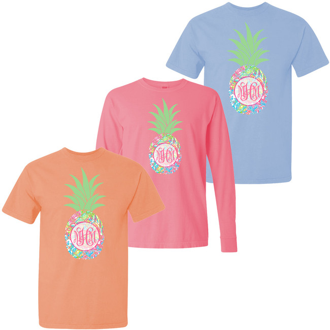 Monogrammed Large Lilly Pineapple Comfort Colors T-Shirt