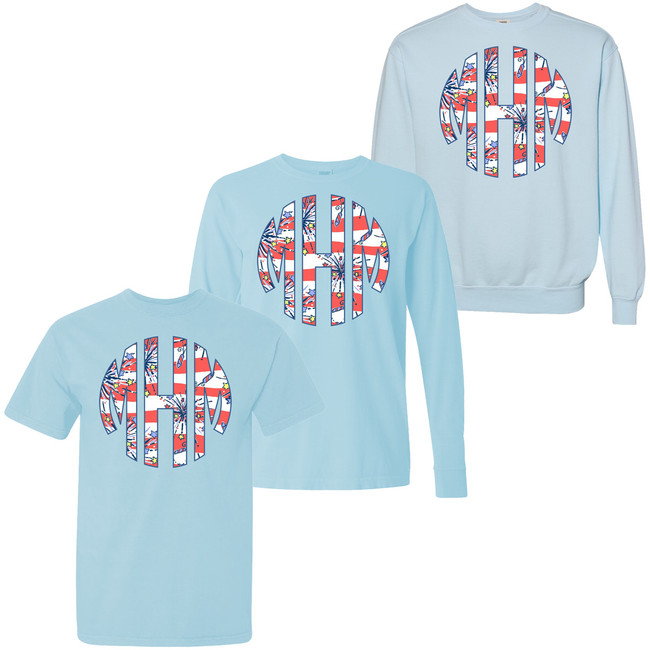 Full Monogrammed Patriotic Lilly Comfort Colors T-Shirt