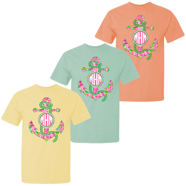Monogrammed Large Lilly Anchor Comfort Colors T-Shirt For Girls