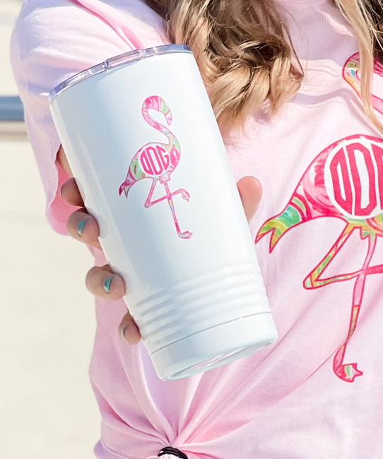 Monogrammed Lilly Flamingo Stainless Steel Tumbler