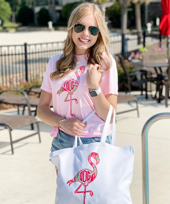 Personalized Lilly Flamingo Canvas Tote Bag - White