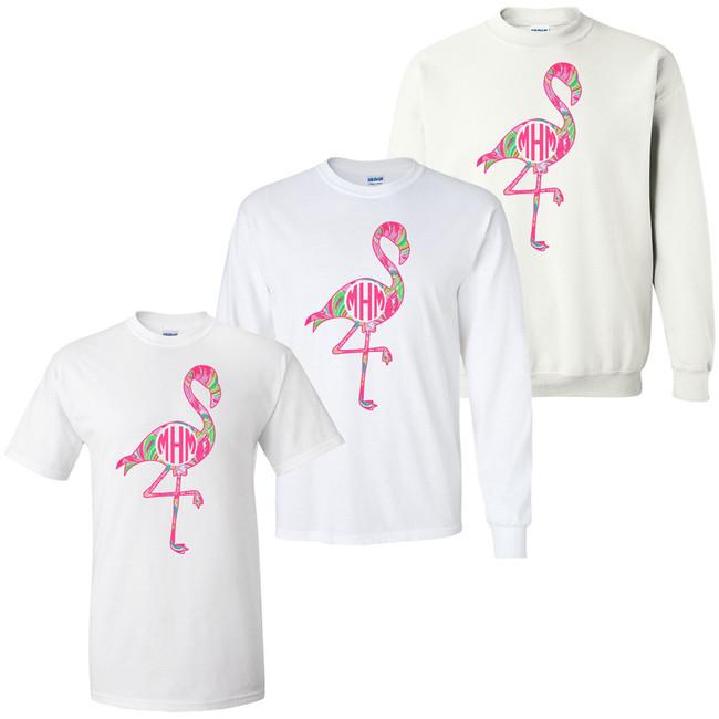 Girls Monogrammed Lilly Flamingo Graphic Shirt
