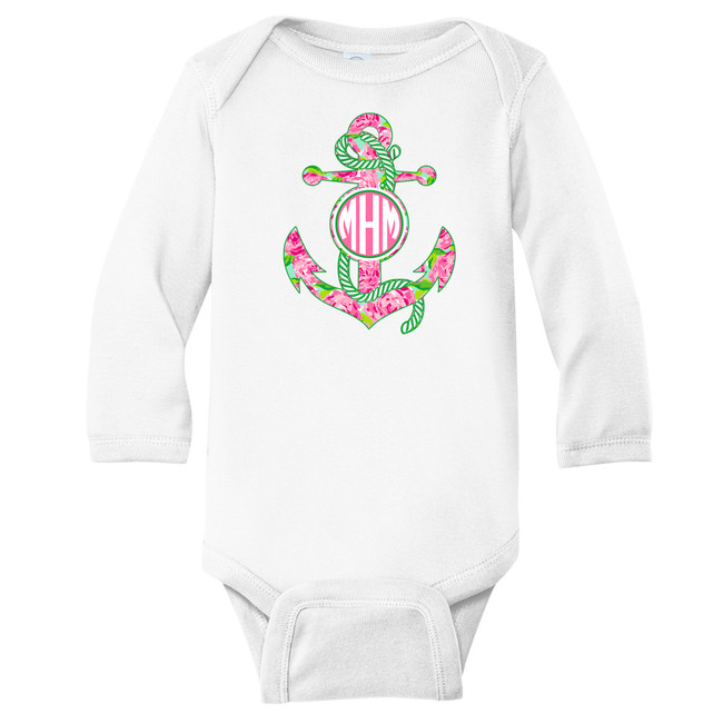 Monogrammed Infant Lilly Anchor Graphic Shirt