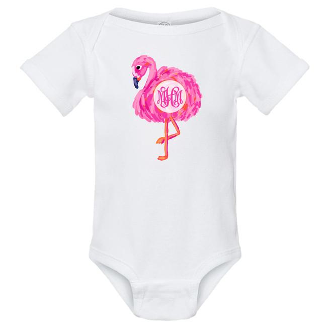 Monogrammed Infant Watercolor Flamingo Graphic Shirt