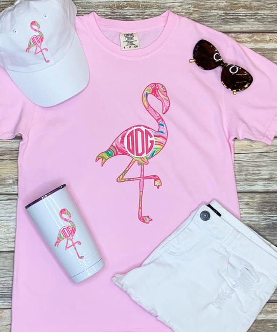 Monogrammed Large Lilly Flamingo Comfort Colors Shirt