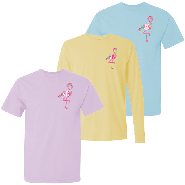 Monogrammed Lilly Flamingo Comfort Colors Shirt