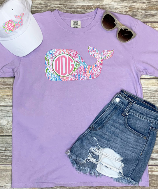 Monogrammed Large Lilly Whale Comfort Colors Shirt