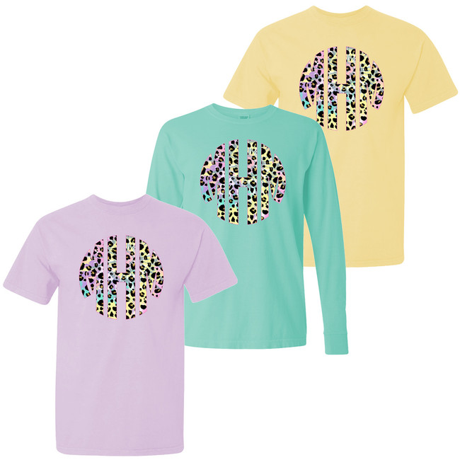 Monogrammed Tie Dye Leopard Comfort Colors Shirt