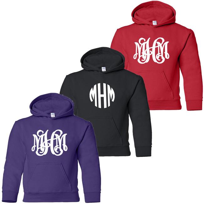 Youth Full Monogrammed Hooded Sweatshirt