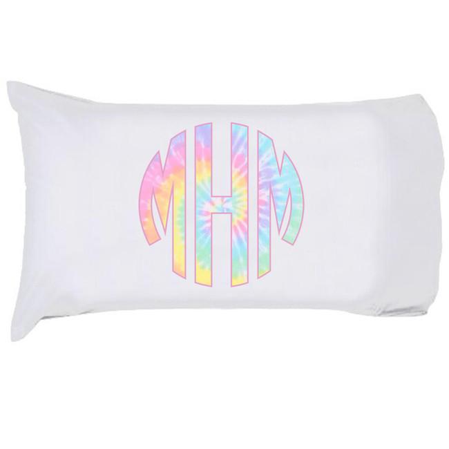 Monogrammed Pastel Tie Dye Pillowcase