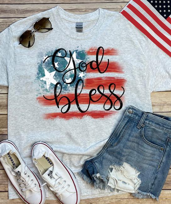 God Bless America Flag Graphic Tee