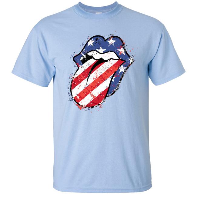 Patriotic Tongue Shirt - Light Blue