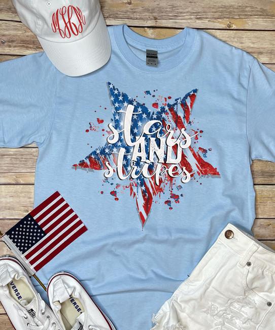 Patriotic Stars And Stripes Shirt - Light Blue