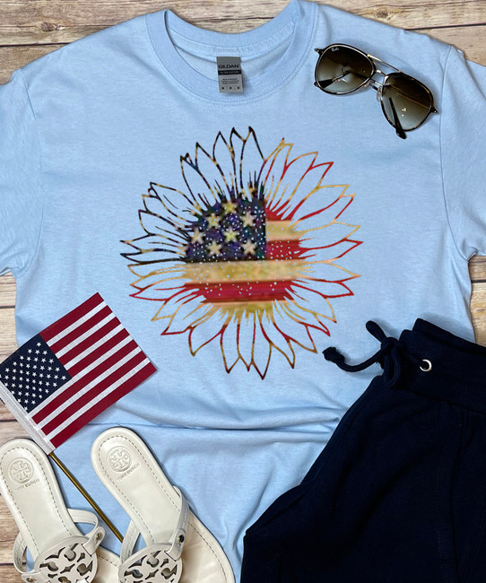 Patriotic Sunflower Shirt - Light Blue