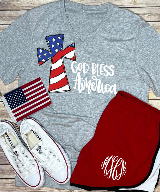God Bless America V-Neck Shirt - Athletic Heather
