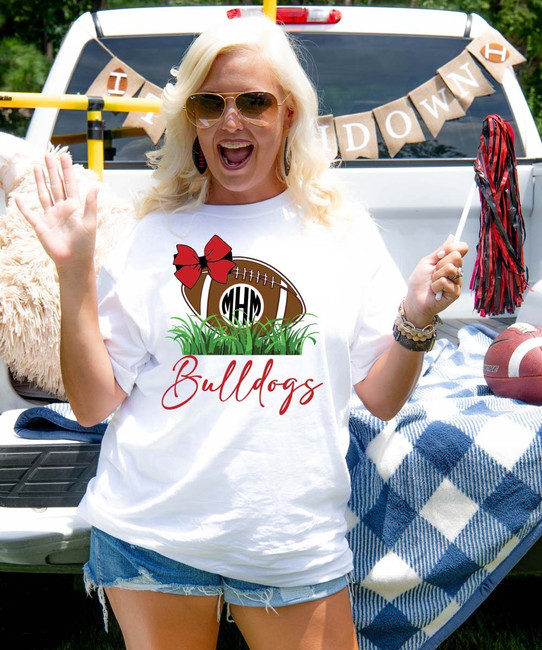 Monogrammed Football In Grass Graphic Tee Shirt
