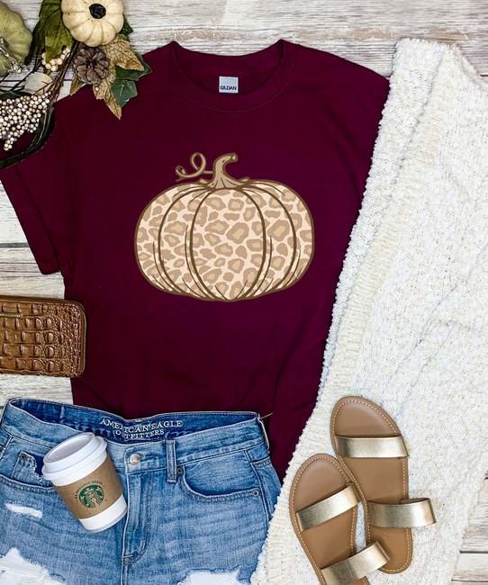 Light Leopard Pumpkin Graphic Tee Shirt