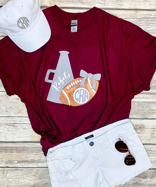 Monogrammed Large Football And Megaphone Graphic Tee Shirt
