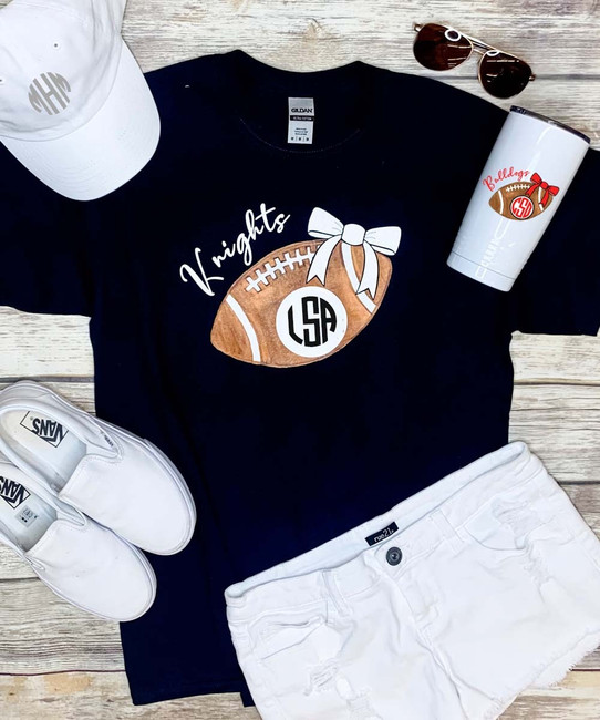 Monogrammed Large Football With Bow Graphic Tee Shirt