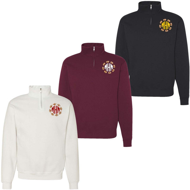 Monogrammed Embroidered Football Circle Quarter Zip Pullover