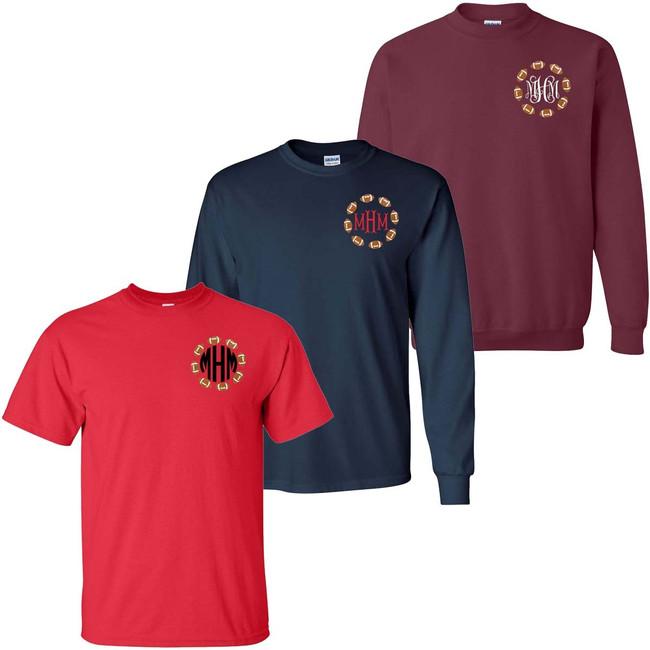 Monogrammed Embroidered Football Circle Tee Shirt