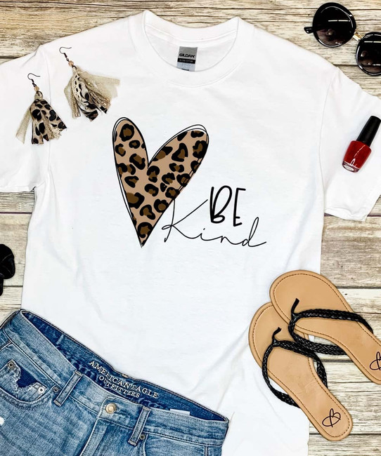 Be Kind Leopard Heart Graphic Shirt