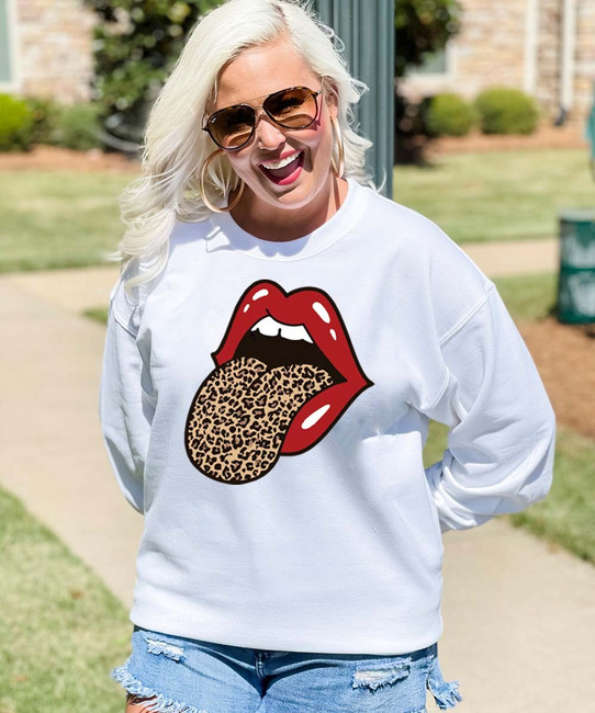 Leopard Tongue Graphic Tee Shirt