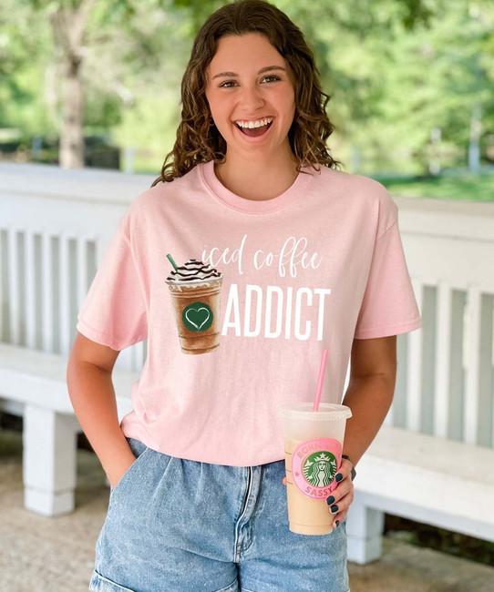 Iced Coffee Addict Graphic Tee Shirt