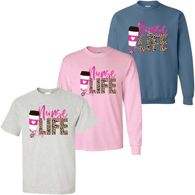 Leopard Nurse Life Graphic Tee Shirt