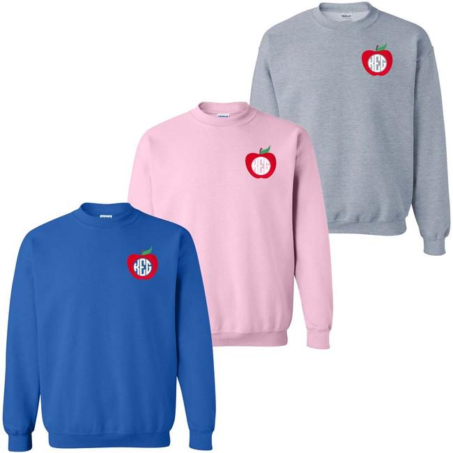 Monogrammed Embroidered Apple Sweatshirt