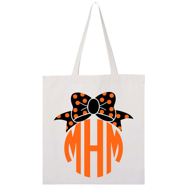 Monogrammed Halloween Bow Trick Or Treat Bag