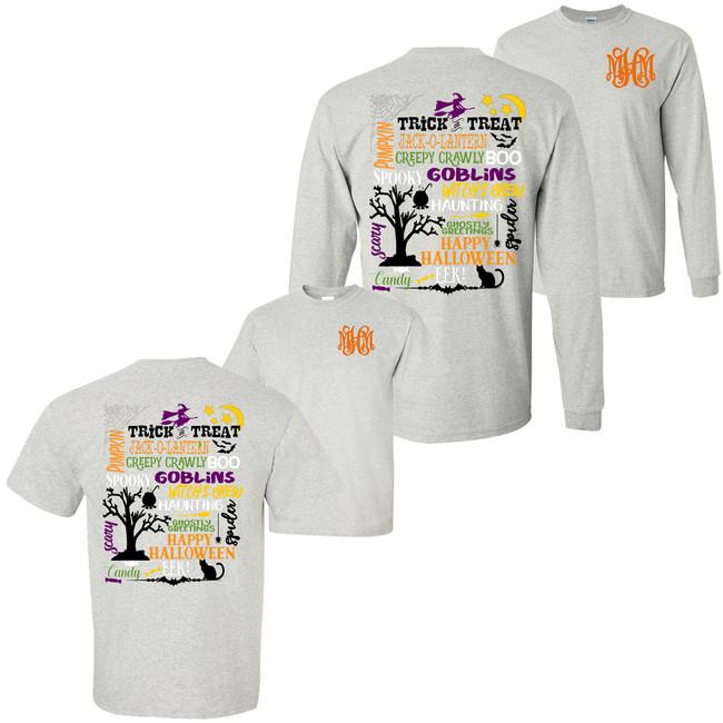 Monogrammed Halloween Favorites T-Shirt - Ash Gray