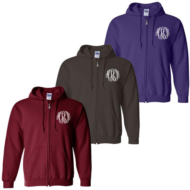 Monogrammed Full-Zip Hooded Sweatshirt
