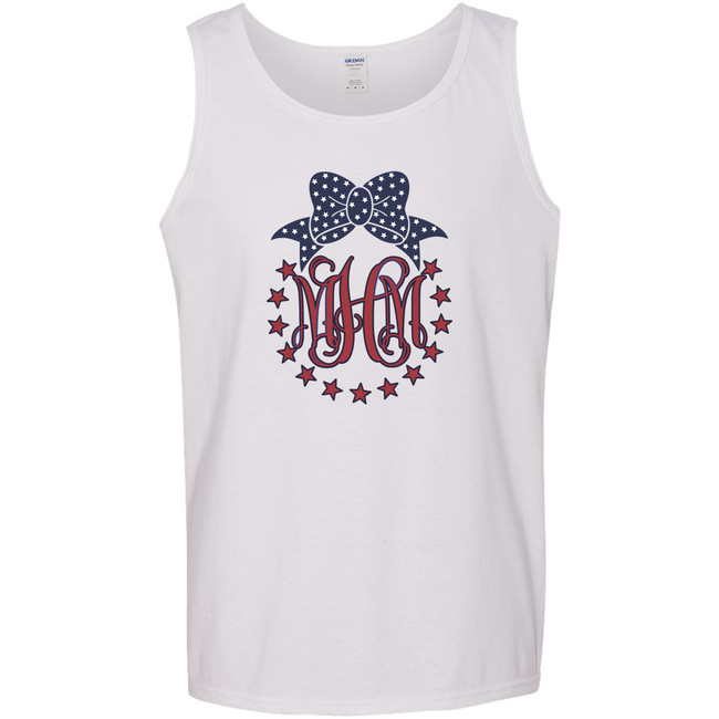 Personalized Patriotic Circle With Bow Graphic Tee