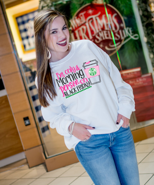 Monogrammed Black Friday Morning Person Graphic Tee