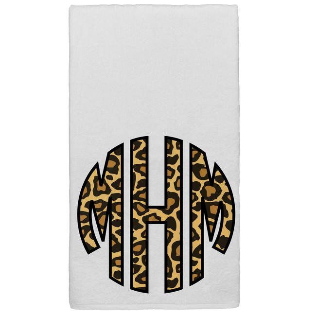 Monogrammed Graphic Beach Towel - Leopard Monogram