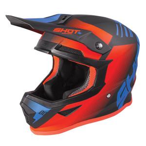 Shot Race Gear Furious Youth Kids MX Helmet Blue Orange