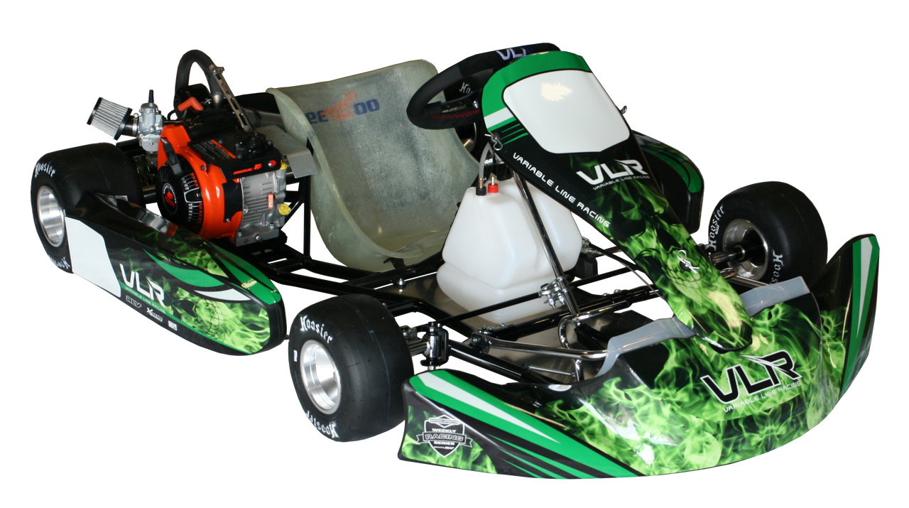 VLR Emerald Adult Kart Chassis (W/ LO206 Engine & Hilliard Flame #35 Complete Kit)