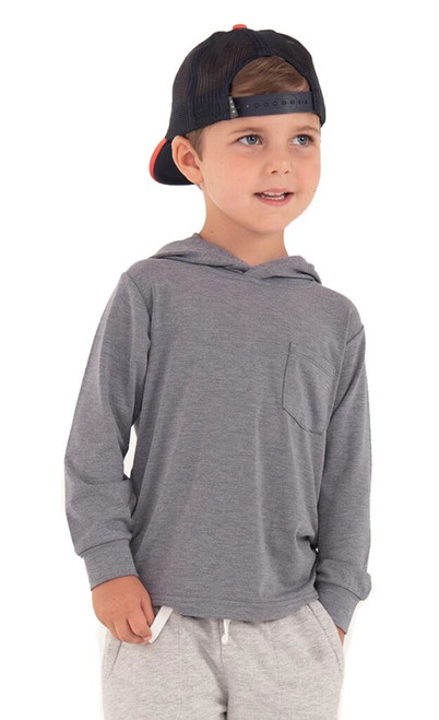 KIDS BAMBOO CROSSOVER HOODY- HEATHER SLATE BLUE