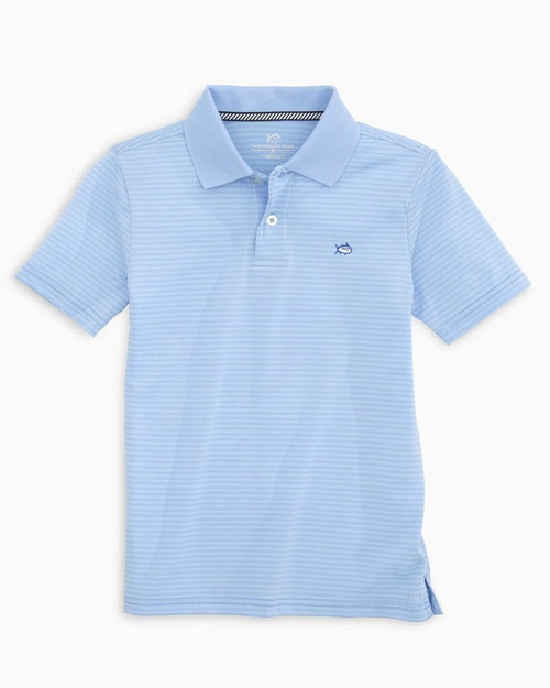 Youth Roster Stripe Performance Polo- Sky Blue