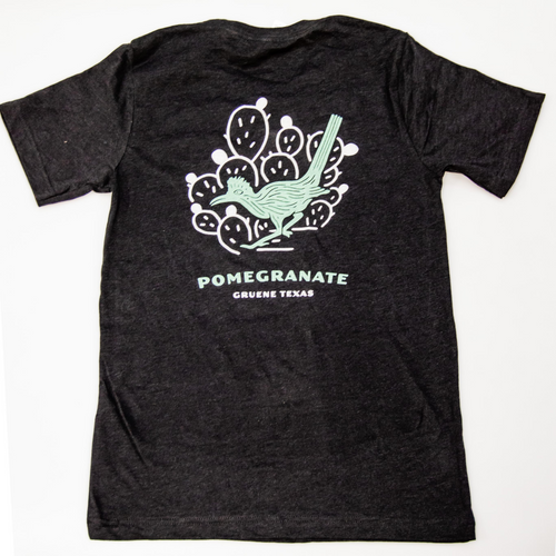 The Pomegranate Roadrunner Logo Tee- Black Heather