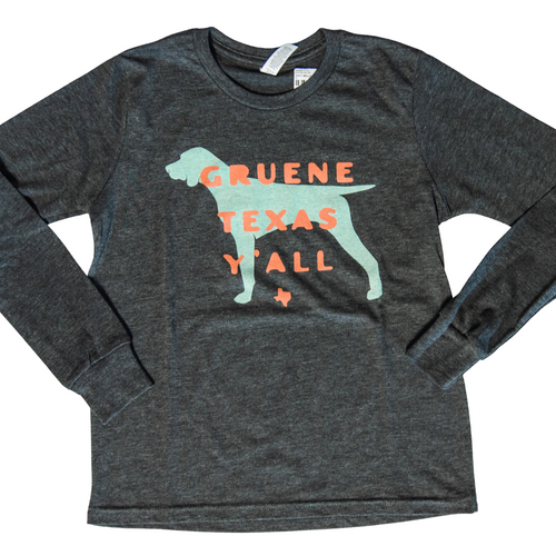 Kids' Gruene Texas Y'all Long Sleeve Tee- Dark Grey Heather