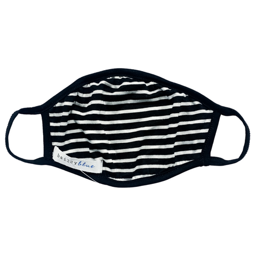 Adult Jersey Knit Mask- Black/ White Stripe