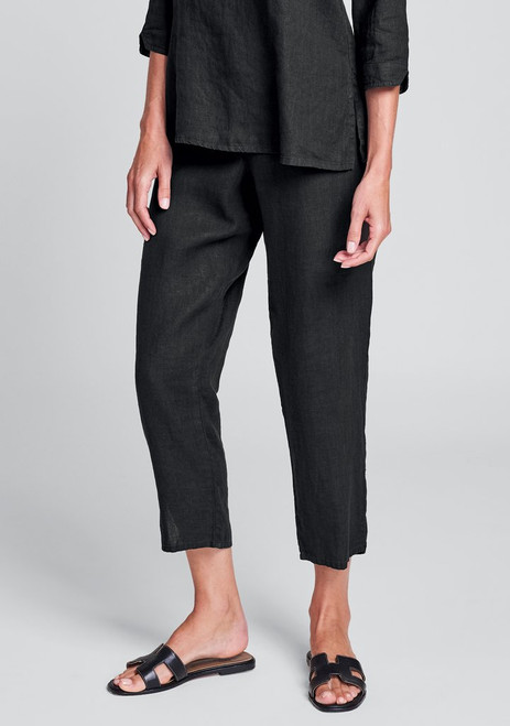 Flax Pocketed Ankle Pant- Black