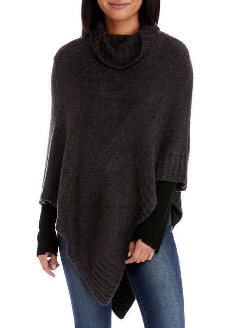 V Fraas Cozy Triangle Poncho- Charcoal